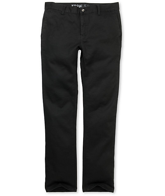 KR3W K Slim Black Slim Fit Chino Pants