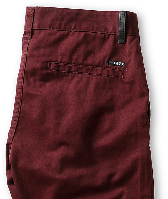 KR3W K Slim Burgundy Slim Fit Chino Pants