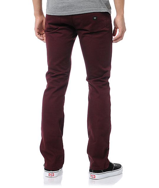 KR3W K Slim Burgundy Twill Pants
