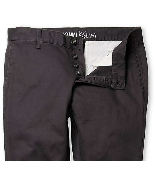 KR3W K Slim Charcoal Slim Fit Chino Pants