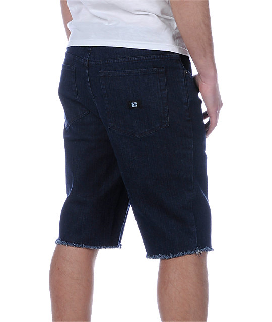KR3W K Slim Cuts Indigo Denim Shorts