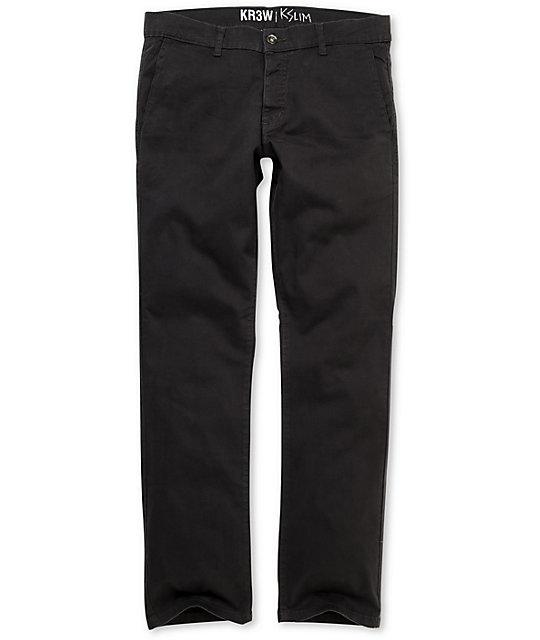 KR3W K Slim Dark Grey Chino Pants