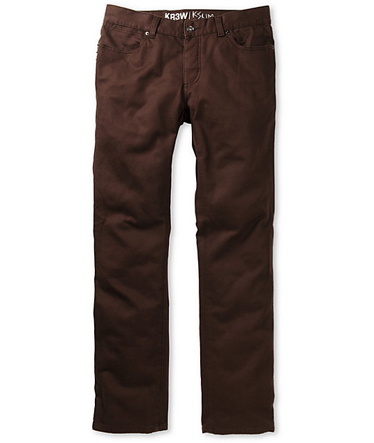 KR3W K Slim Fit Brown Twill Jeans