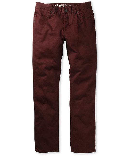 KR3W K Slim Fit Burgundy Twill Jeans