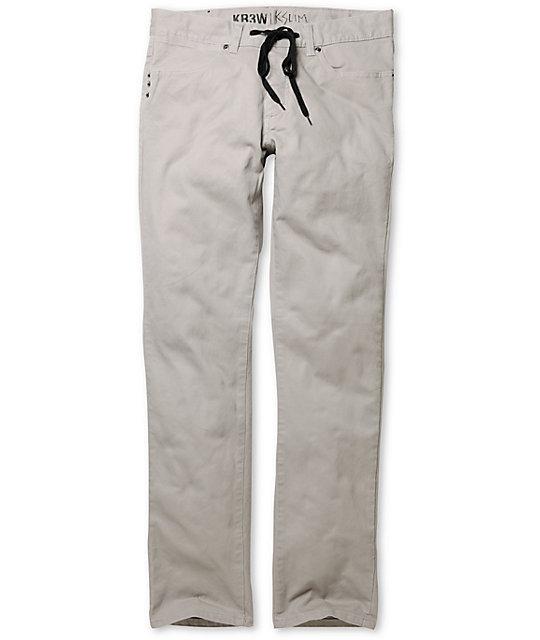 KR3W K Slim Grey Khaki Slim Fit Twill Pants