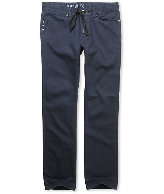 KR3W K Slim Navy Twill Pants
