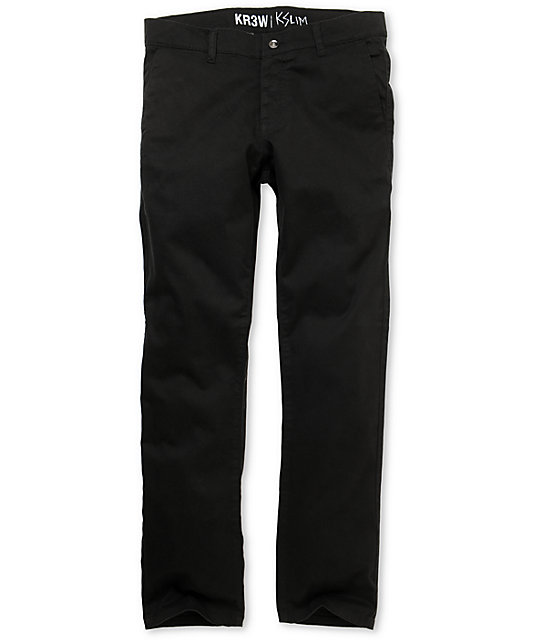 KR3W K Slim Twill Black Slim Fit Chino Pants