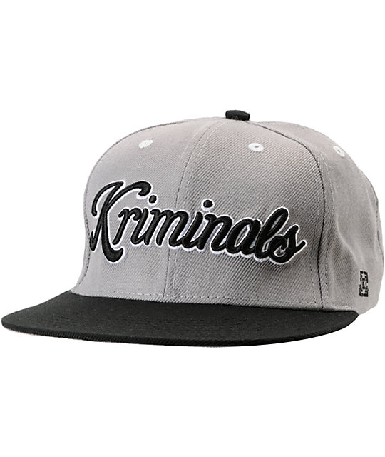 KR3W Kriminals Grey & Black Snapback Hat