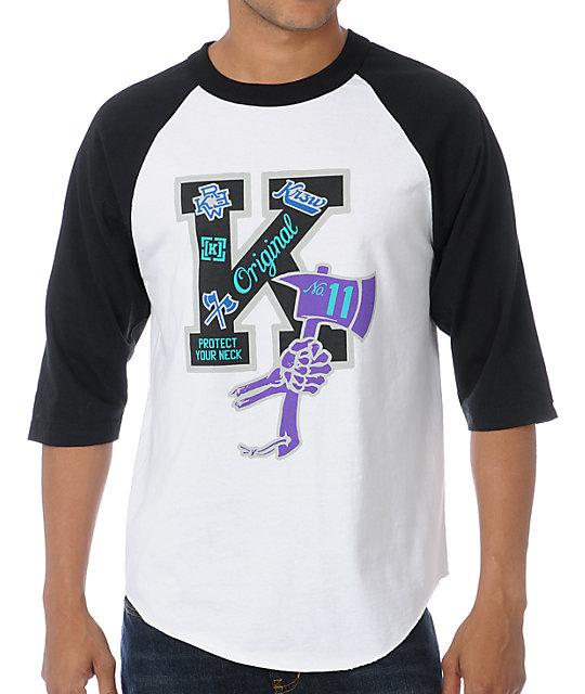 KR3W Letterman Black & White Baseball T-Shirt