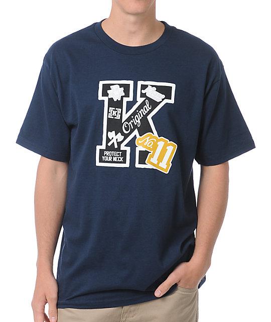 KR3W Letterman Navy T-Shirt