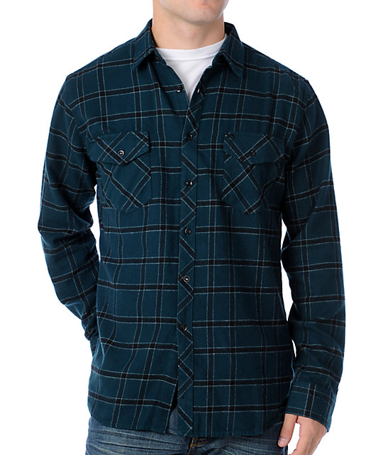 KR3W Lincoln Teal & Black Flannel Shirt