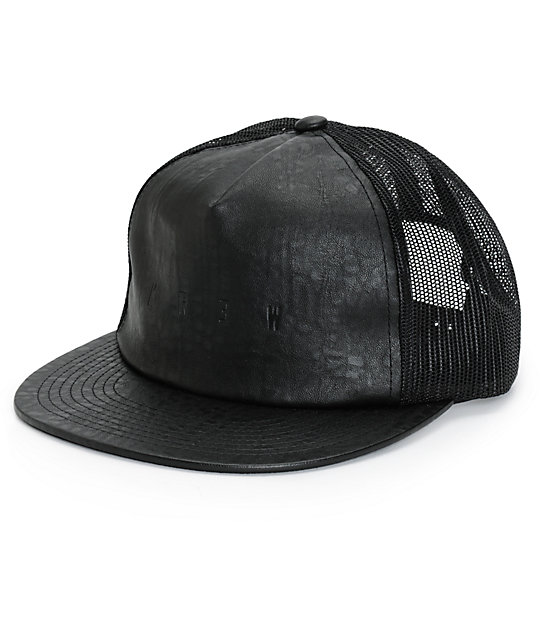 KR3W Lock Out Leather Trucker Hat