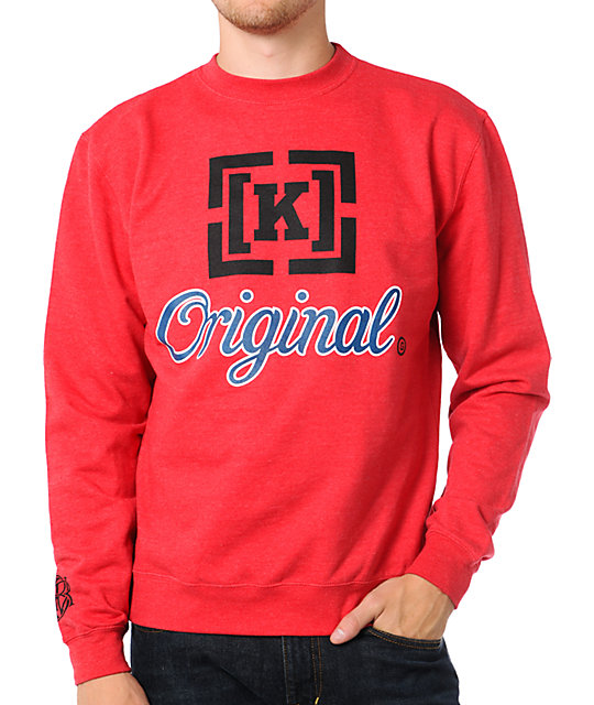 KR3W Original 3 Red Crew Neck Sweatshirt