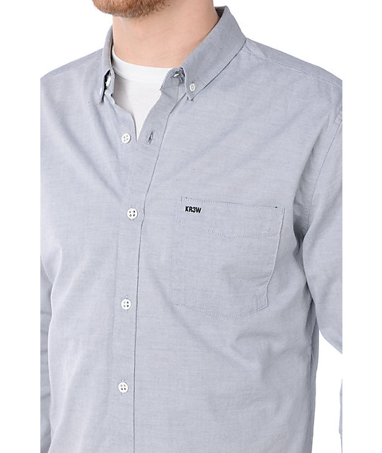KR3W Oxford Grey Long Sleeve Button Up Shirt