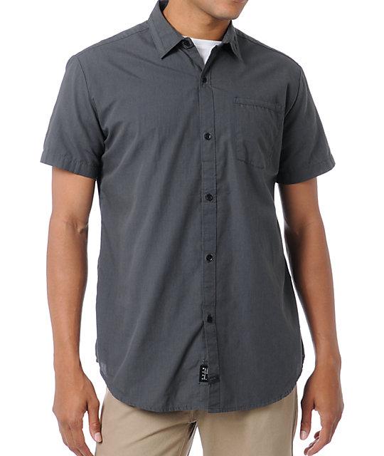 KR3W Panic Grey Short Sleeve Button Up Shirt