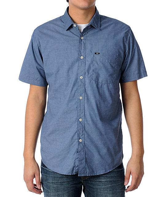 KR3W Quincy Blue Woven Short Sleeve Shirt