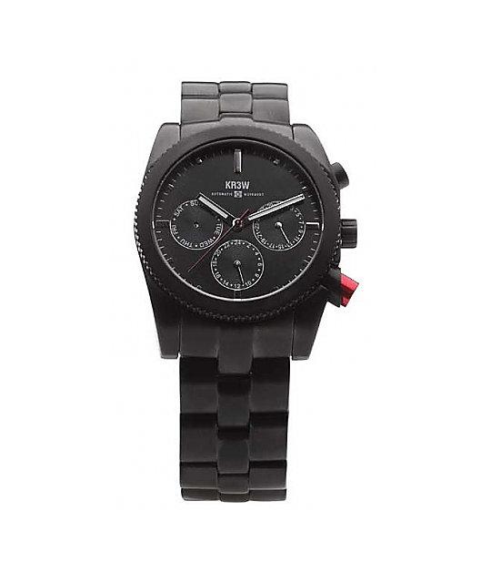 KR3W Redrum Black Chronograph Watch