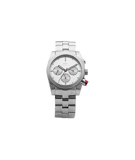 KR3W Redrum Silver Chronograph Watch