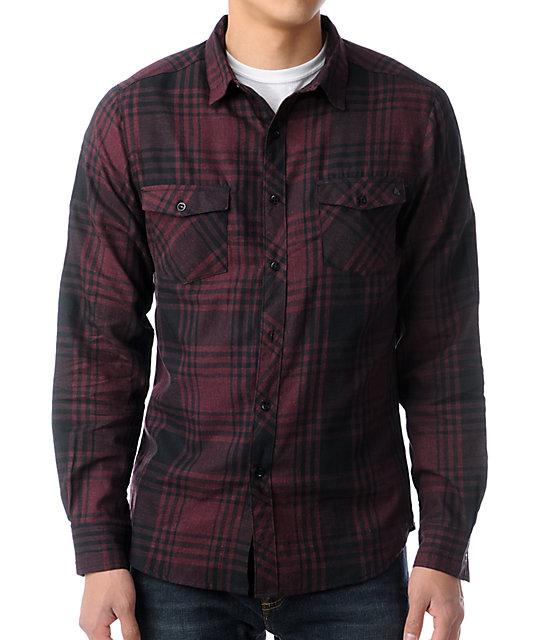 KR3W Rivers Burgundy Plaid Long Sleeve Button Up Shirt