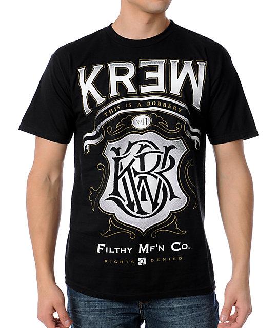 KR3W Robbery Black Mens T-Shirt