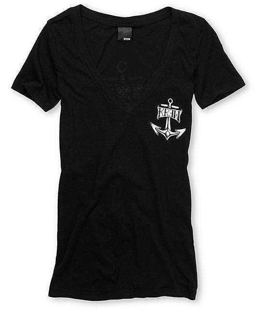 KR3W Santa Maria Black V-Neck T-Shirt