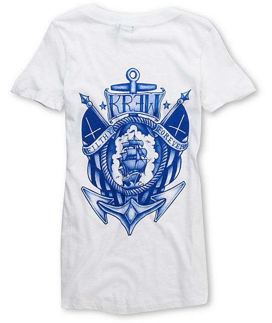KR3W Santa Maria White V-Neck T-Shirt