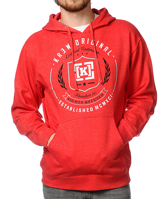KR3W Shield Red Pullover Hoodie