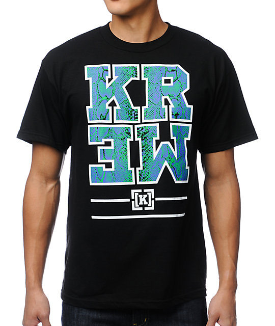 KR3W Snake Block Black T-Shirt
