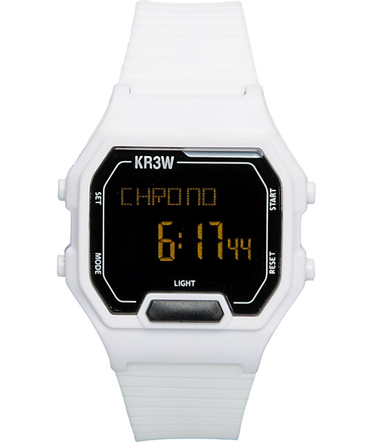 KR3W Terminal White Digital Watch