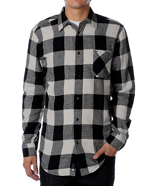 KR3W Update Black & Cream Plaid Flannel Shirt
