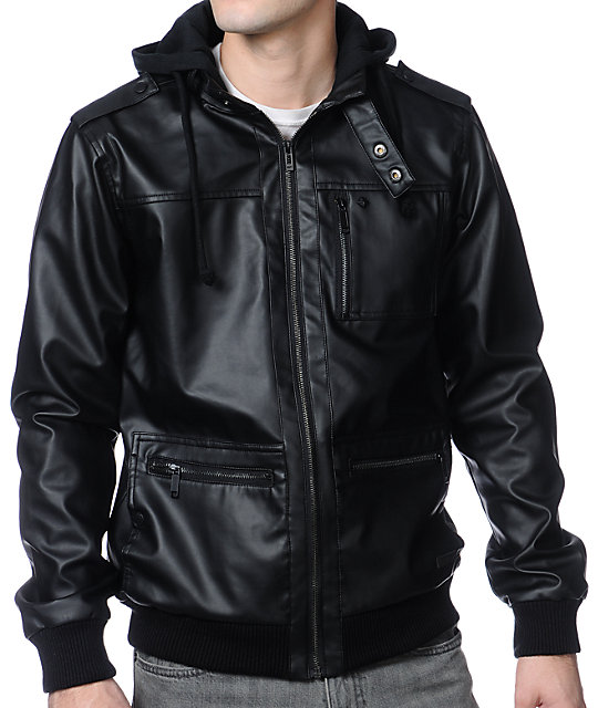 KR3W Wallace 2 Faux Leather Black Hooded Jacket