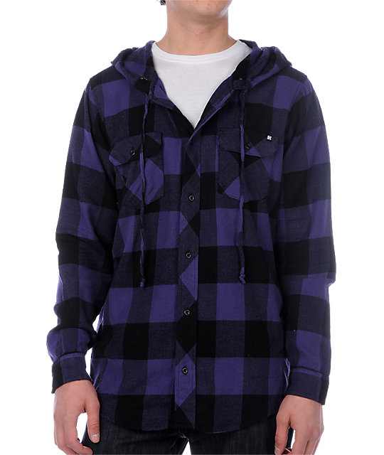 KR3W Washington Purple & Black Hooded Flannel Shirt