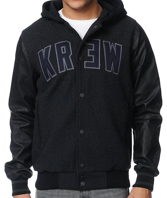 KR3W Wilcox 2 Charcoal Varsity Jacket