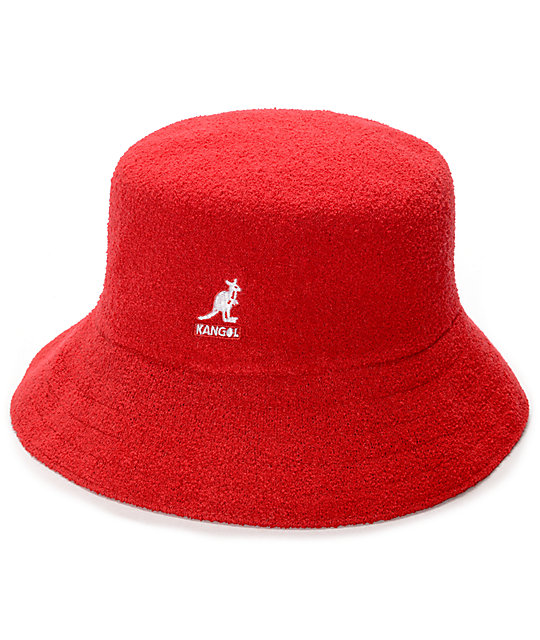 Red Youth Size Pigment Dyed Washed Bucket Hat: Bucket Hat  |Red Bucket Hat