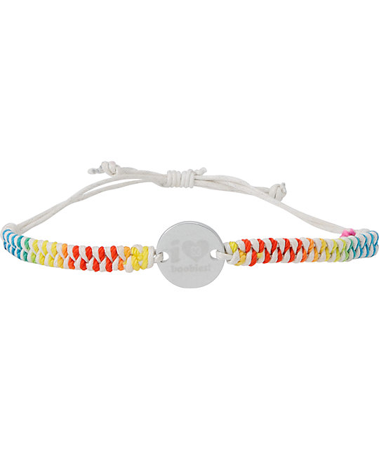 Keep A Breast Foundation White & Rainbow Braided Bracelet