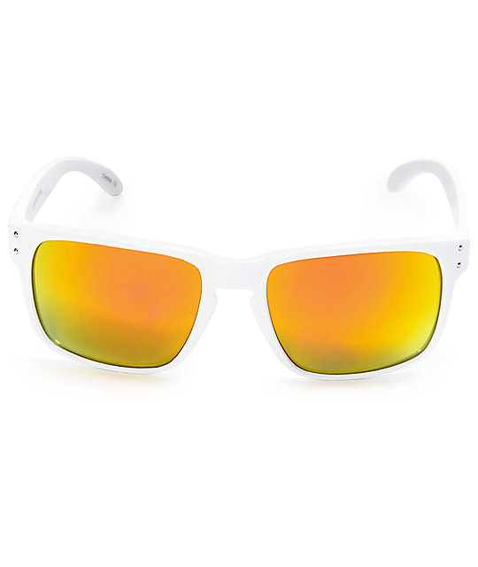 Keyhole Wrap White & Red Sunglasses