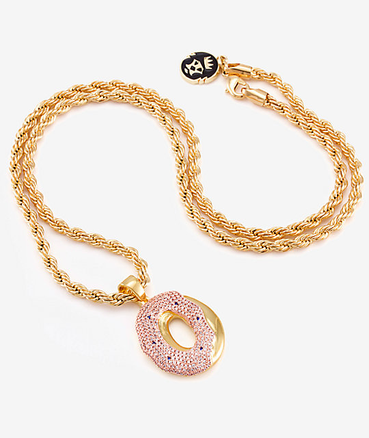 King Ice X Odd Future OF Donut Pendant Gold Necklace