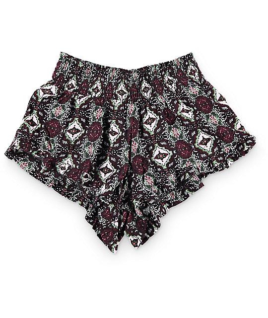 Kiss & Cry Mimi Burgundy Tile Print Shorts