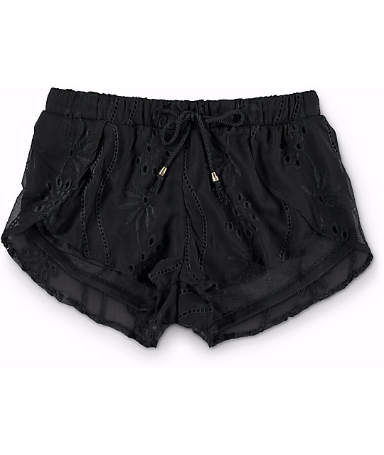 Kiss & Cry Sahara Black Emboidery Tulip Shorts