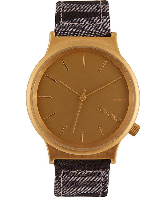 Komono Wizard Print Denim Zebra Watch