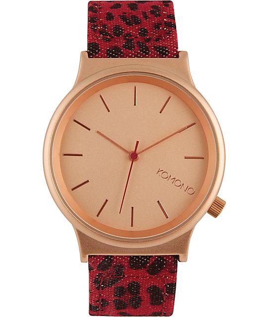 Komono Wizard Print Red Leopard Watch