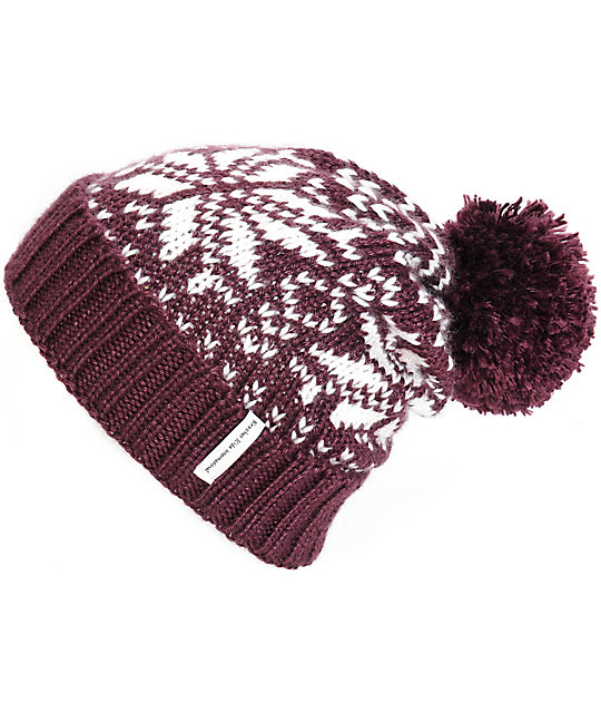 Krochet Kids Becks Fig Snowflake Pom Beanie