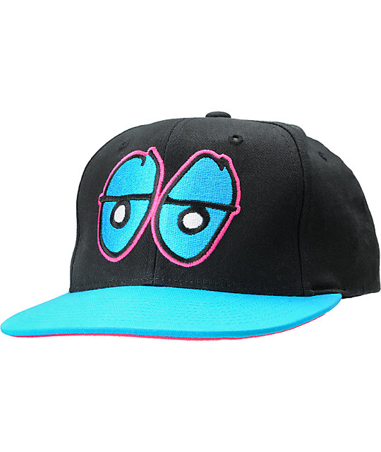 Krooked Eyes Black Snap-Back Hat