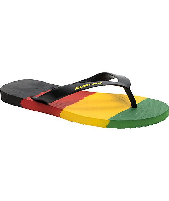 Kustom Footwear Vital Stripe Rasta Flip-Flop Sandals