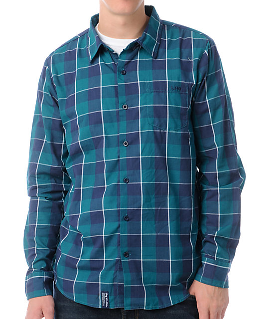 LRG 47 Long Sleeve Teal & Blue Button Up Shirt