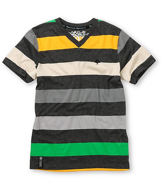 LRG Boys Children of Vision V-Neck Striped T-Shirt
