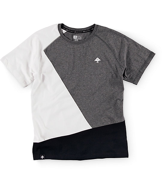 LRG Boys Color Block Dark Heather Grey, White & Black T-Shirt