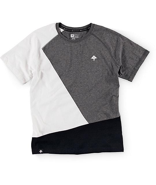 Boys Color Block Dark Heather Grey, White & Black T-Shirt