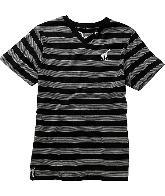 LRG Boys Core Black Stripe V-Neck T-Shirt