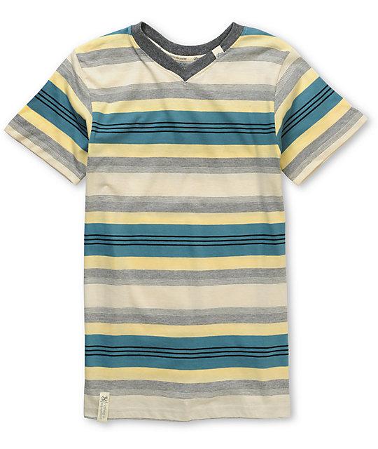 LRG Boys Line Stepper Blue Stripe V-Neck T-Shirt